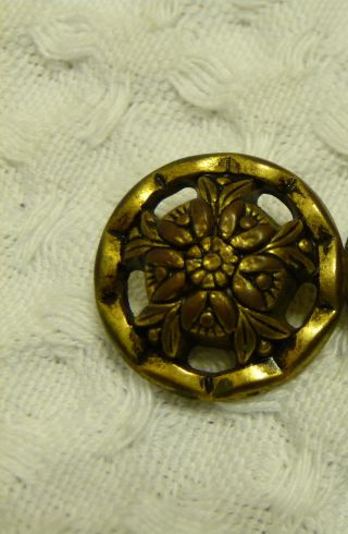 Victorian Picture Button 6 Stylized Daisies Round Brass?.  75