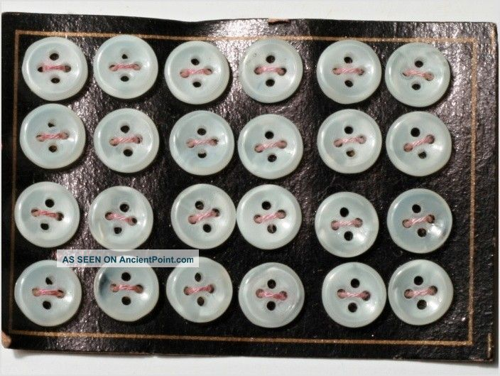 24 Doll White Sew Thru Depression Glass Buttons Card 9 Mm Antique Vintage Czech Buttons photo