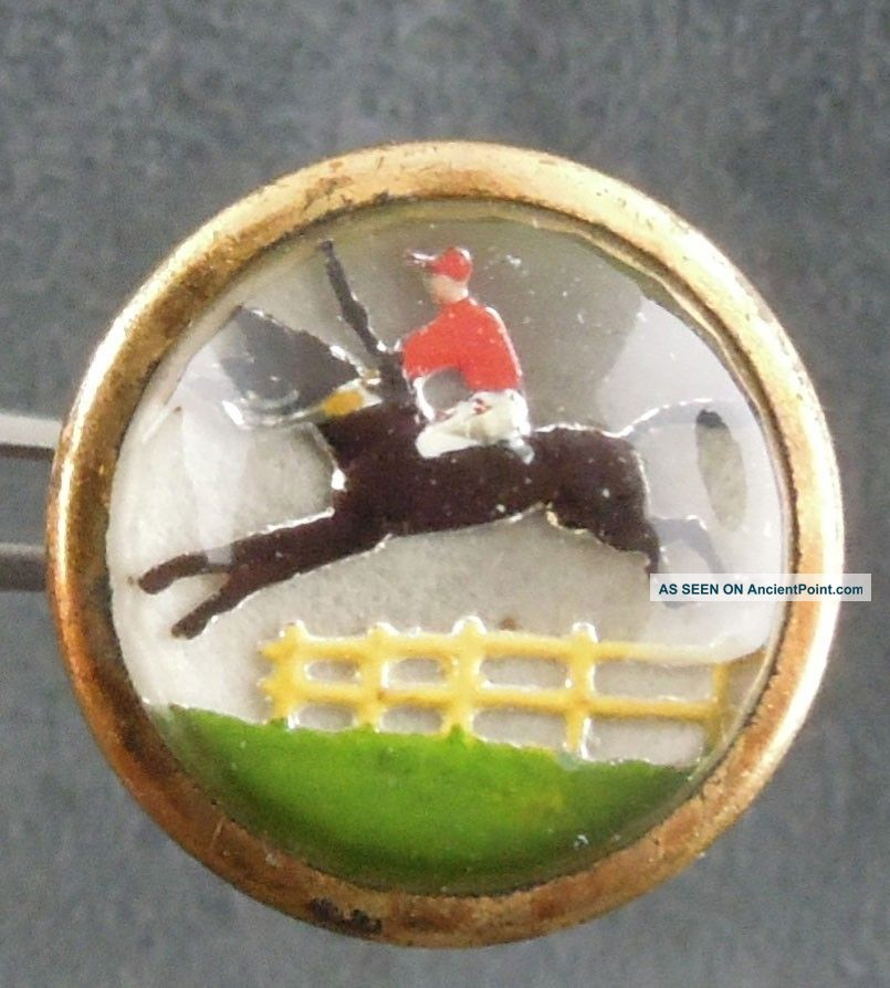 Vtg Domed Glass Top Button Horse Picture Equestrian Lion Brand England Racing Buttons photo