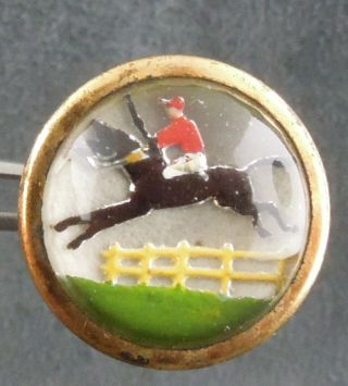 Vtg Domed Glass Top Button Horse Picture Equestrian Lion Brand England Racing photo