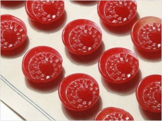 Card (24) Antique Vtg Czech Red Art Dedco Glass Buttons 20´s 13 Mm photo