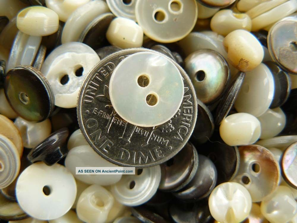 Antique Mother Of Pearl Buttons 80+ Count Mixed Bag Buttons photo