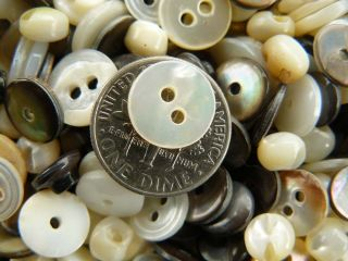 Antique Mother Of Pearl Buttons 80+ Count Mixed Bag photo