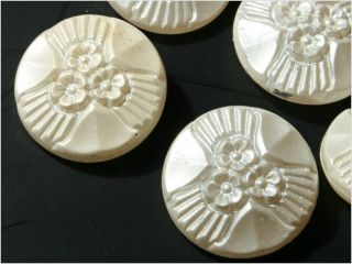 (6) 23 Mm 20´s Antique Vintage Czech Faux Pearl Flower Clear Glass Buttons photo