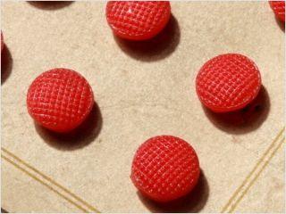 Card (24) 9 Mm 20´s Orange Doll Antique Vtg Czech Glass Buttons photo