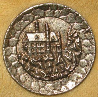 Lg Antique Silvered Copper Button Scene Blarney Castle On Rocky Promontory photo