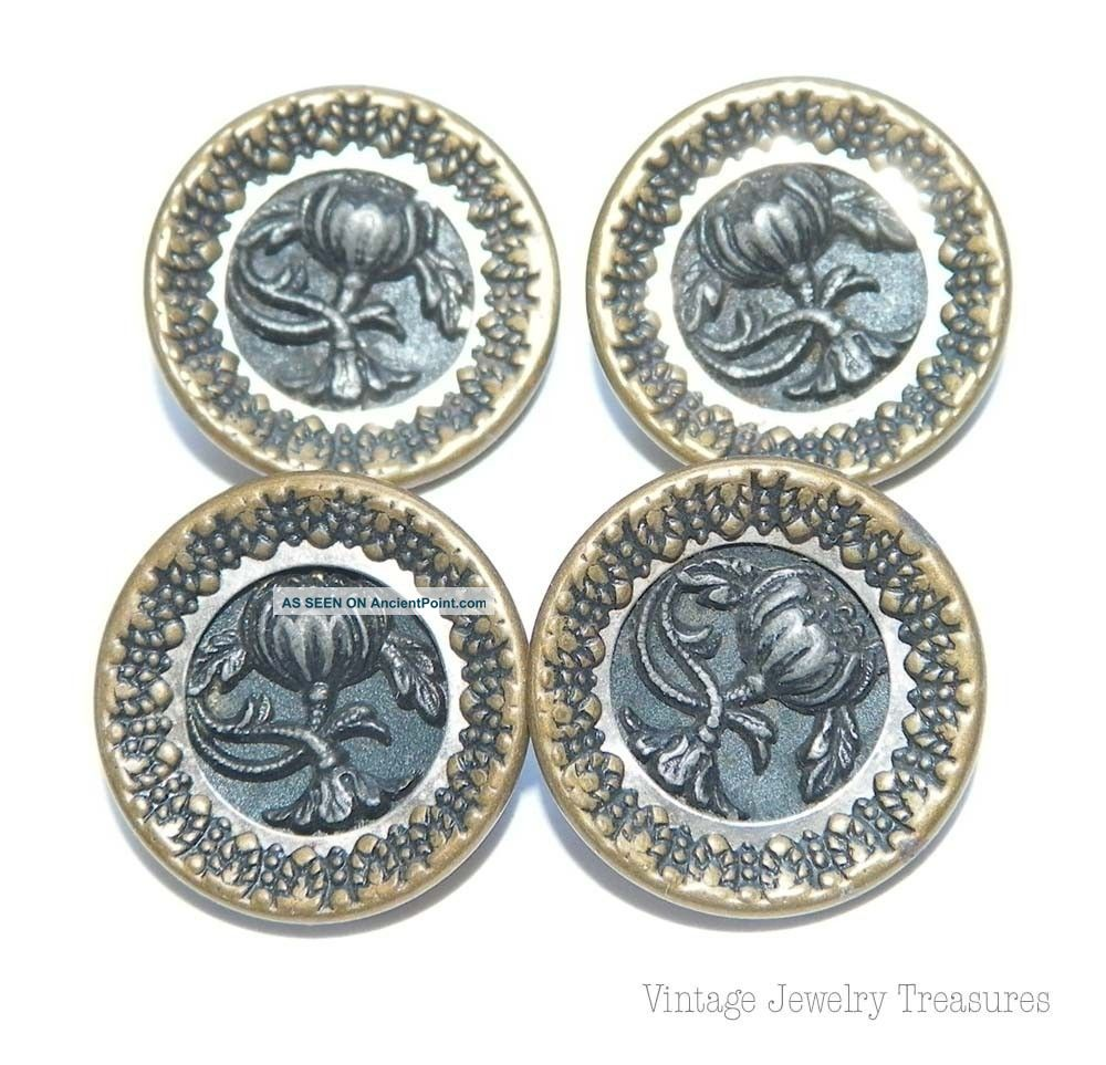 Antique C1800 4 Brass & Steel Flower Design 16mm Buttons E202 Buttons photo