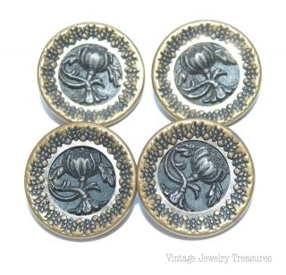 Antique C1800 4 Brass & Steel Flower Design 16mm Buttons E202 photo