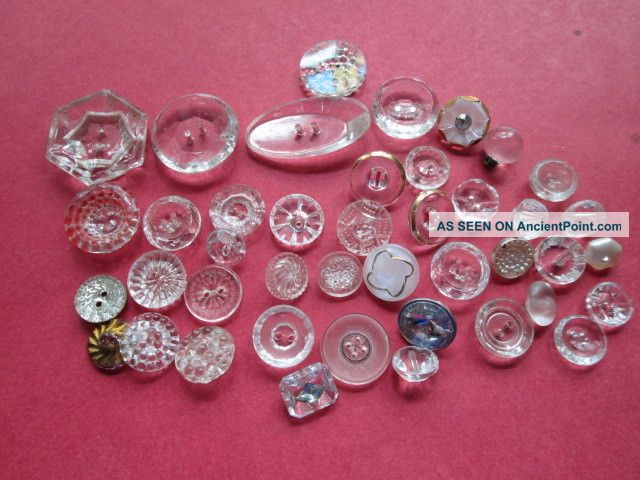 Lot Antique/vintage Glass Buttons For Dolls Or Projects Buttons photo
