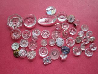 Lot Antique/vintage Glass Buttons For Dolls Or Projects photo