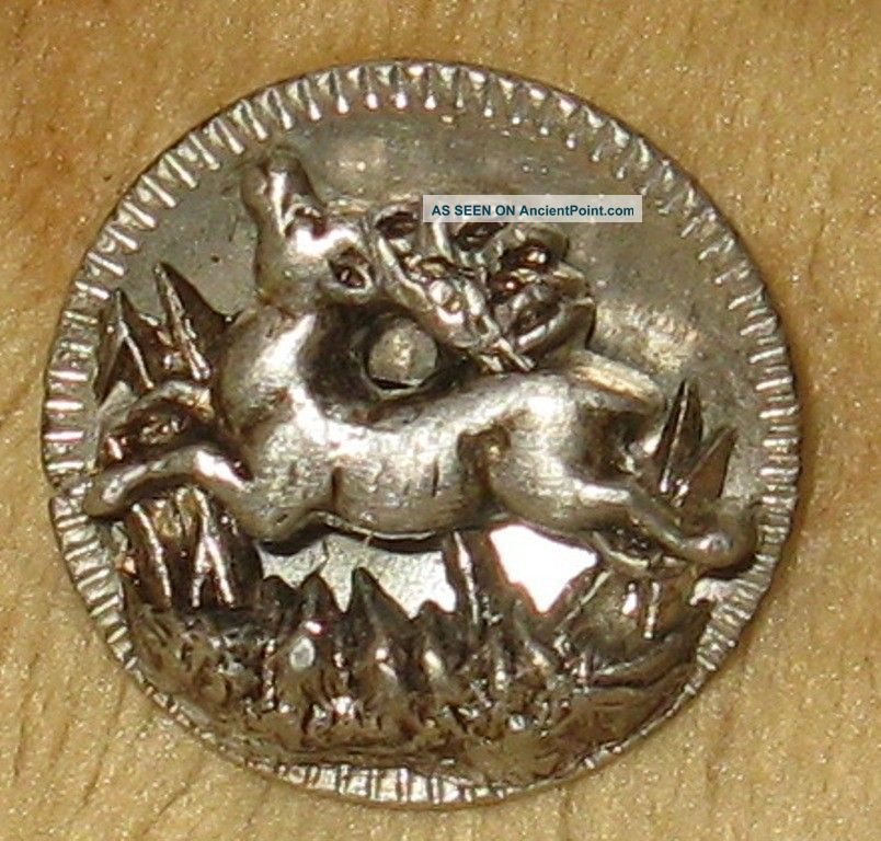 Rare Antique Pewter Waistcoat Picture Button Running Deer Stag In High Relief Buttons photo
