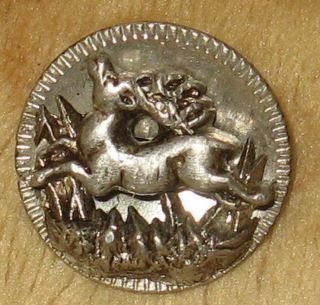 Rare Antique Pewter Waistcoat Picture Button Running Deer Stag In High Relief photo