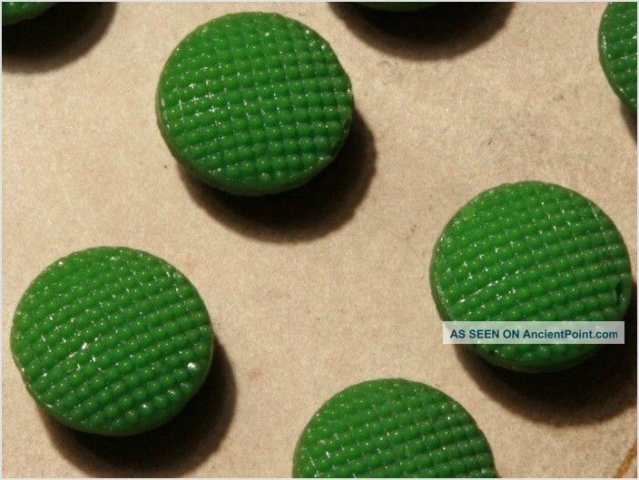 Card (24) Antique Vtg Czech Green Fancy Glass Buttons 20´s Doll S 10 Mm Buttons photo