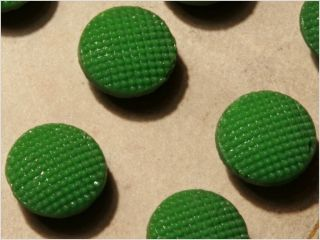Card (24) Antique Vtg Czech Green Fancy Glass Buttons 20´s Doll S 10 Mm photo