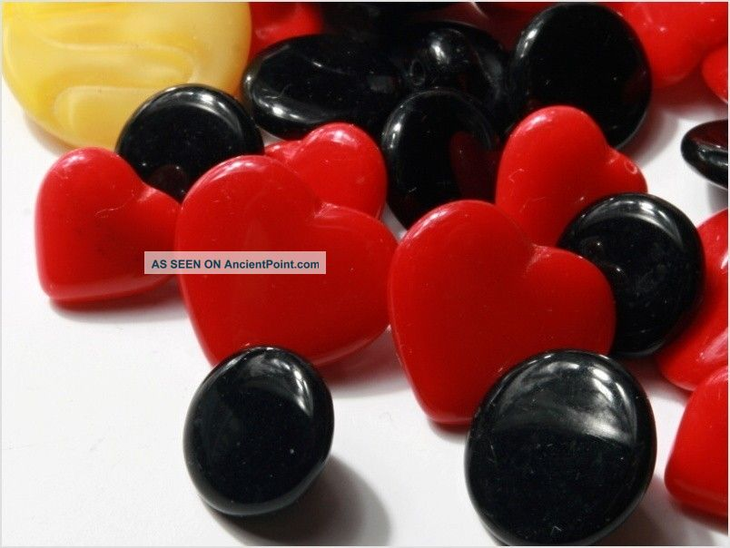 Lot (50) Group Vintage Czech Glass Buttons Red Heart Black White Fancy Buttons photo