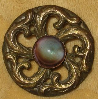 Wonderful Art Nouveau Pierced Button W/saphiret And Stylistic Pinwheel Pattern photo