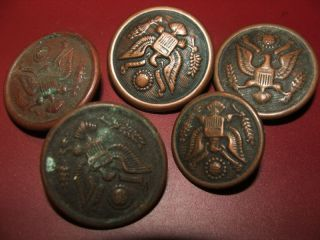 5 Antique Different American Military Buttons photo