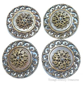 Antique C1800 4 Brass French Cut Steel 26mm Buttons E202 photo