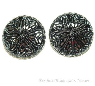 Vintage Antique Black & Silver Czech Glass Clip Earrings photo