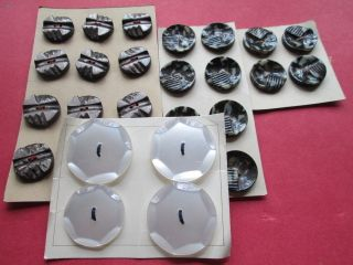 Lot Antique/vintage Buttons From Plastick Gray And White - photo