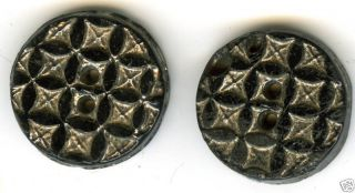 Antiq.  Molded Black Glass Buttons (2) C.  1860s? Cat 239 photo