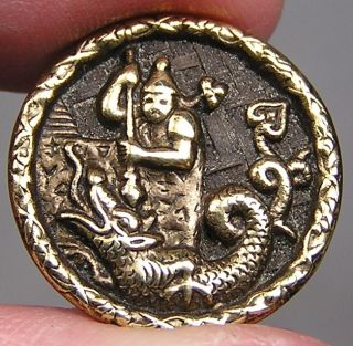 Brass Picture Button Chinese Dragon Slayer Metal photo