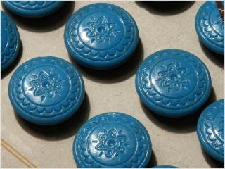 Card (24) Antique Vtg Czech Blue Floral Glass Buttons 20´s 18 Mm photo