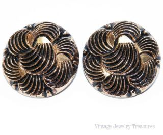Vintage Antique Black & Gold Swirl Czech Glass Clip Earrings photo