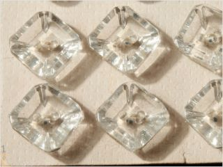 Card (24) 10 Mm Vintage Czech Square Faceted Crystal Glass Deco Glass Buttons photo