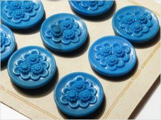 Card (12) Antique Vtg Czech Blue Floral Glass Buttons 20´s 23 Mm photo