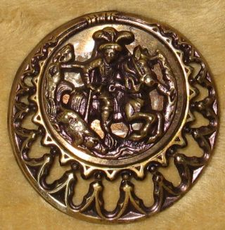 Large Antique Picture Button The Boar Hunter On Horseback Openwork Border photo