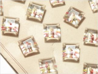 Card (24) Vintage Czech Square Faceted Crystal Glass Art Deco Glass Buttons photo