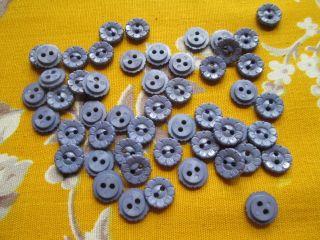 Vintage Flower Buttons For Dolls - Blue Plastic photo
