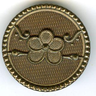 Antique Metal Clover Design Button,  19th Century photo