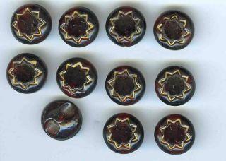 Antique Cranberry Glass Buttons (11) C 1860s? photo