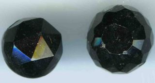 Antique Black Glass Spherical Buttons (14) C 1880s? photo