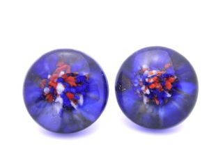 Antique Glass Millefiori Paperweight Buttons Pretty Red White Blue Color photo