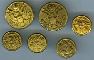 Antique Military Buttons (6),  C.  1910?/am.  Eagle photo