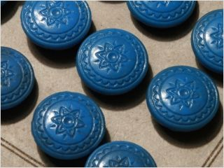 Card (24) Antique Vtg Czech Blue Floral Glass Buttons 20´s 14 Mm photo