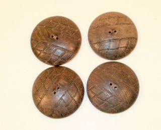 Wooden Buttons Antique Decorative Crosshatch Pattern 4,  1 1/4 Inch photo