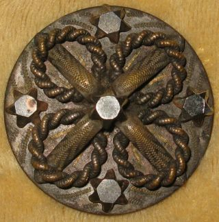 Lg Antique Silvered Copper Button Quatrefoil Chased Overlays & Cut Steel Stars photo