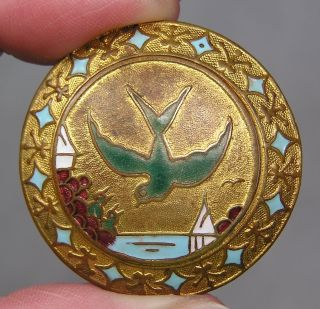 Brass & Enamel Button W/ Birds & Seascape Scene Metal photo