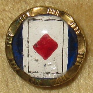 Antique Waistcoat Picture Button Design Under Glass Diamond Card Gambling Theme photo
