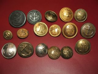 17 Different Old/antique/vintage Navy Buttons photo