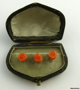 Antique Coral Floral Ladies Shirt Studs - 12k Rose Gold Carved With Case photo