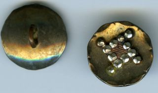 Antique Buttons:metallic Discs With Faceted Steel,  1880? photo