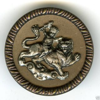 Antiq.  Pewter Button C.  1880s? Cupid Taming The Lion photo