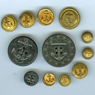 Antique Navy Buttons (12),  C.  1910? photo
