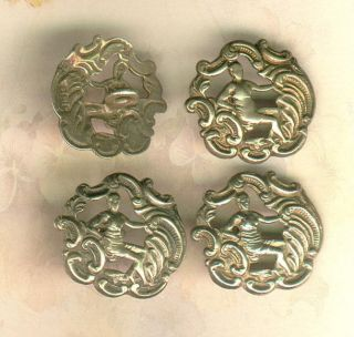 Set Of 4 Pierced English Hall Marked Sterling Buttons photo