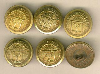 Set Of 6 Connecticut State Seal Staff Uniform Buttons photo